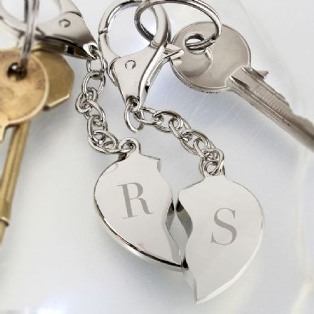 Personalised Two Hearts Initials Metal Keyring